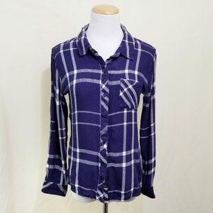 Rails Hunter plaid shirt navy blue white button M